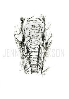 Elefant Kunst Elefant Federzeichnung print von JenniferJacksonart