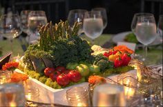 Using healthy trendy vegetables to create a table decor for certain health orientated events can be pretty , tasty and fun!