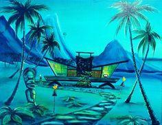 Tropical Design, Tropical Art, Vintage Tiki, Vintage Art, Tiki Art, Tiki Tiki, Tiki Pole, Tiki Decor, Hawaiian Decor