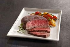 Filet Mignon with Herbed Balsamic Heirloom Tomatoes #recipe