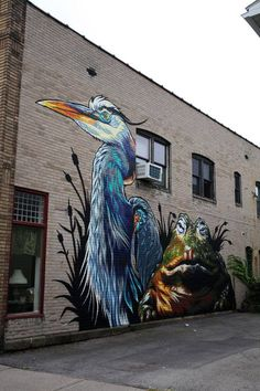 street art bird and a frog