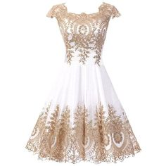 DINGZAN Cute Cap Sleeves Graduation Homecoming Dresses Gold Applique ($43) ❤ liked on Polyvore featuring dresses, gowns, white cocktail dress, short evening gowns, white prom dresses, graduation gown and evening dresses #graduationdresses