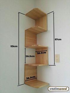 📣 46 New Corner Shelves Ideas 018 – Pinpon - Diy Möbel Home Decor Shelves, Wall Shelves Design, Home Decor Furniture, Furniture Projects, Diy Home Decor, Furniture Design, Unique Wall Shelves, Bookshelf Design, Bedroom Furniture