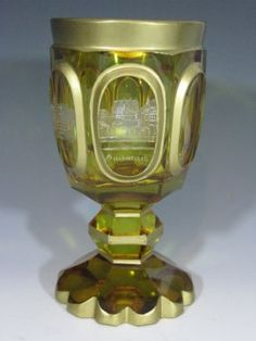 BOHEMIAN CUT TO CLEAR ETCHED GLASS GOBLET : Lot 84