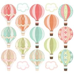 Digital Hot Air Balloon Clipart Hot Air Balloon by DigitalDollface