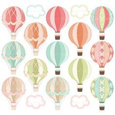 Digital Hot Air Balloon Clipart Hot Air Balloon by DigitalDollface