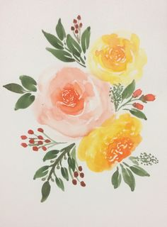 Watercolor Rose, Watercolor Artwork, Watercolor Cards, Watercolor Print, Watercolor Paintings For Beginners, Pottery Painting, Painting & Drawing, Flower Art, Brushing