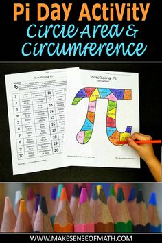 Perfect activity to engage your middle school math students on pi day. students practice circle circumference and area in this fun coloring activity. Fun Math Activities, Math Resources, Numero Pi, Seventh Grade Math, Math Classroom, Classroom Ideas, Math For Kids, Math Lessons, Teaching Math
