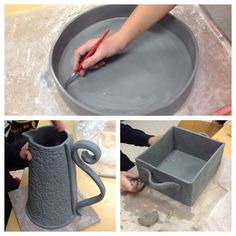 Ceramics II students creating serving dishes and pitchers. Teresa, Taylor and Alyssa!