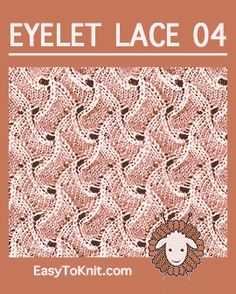 Scroll Lace Knitting, this is a fun lace stitch pattern! Using this pattern to make a scarf, just repeating it on and on and on. Lace Knitting Stitches, Lace Knitting Patterns, Lace Patterns, Easy Knitting, Stitch Patterns, Knit Dishcloth, Eyelet Lace, Knitting Projects, Lana