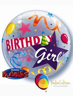 Balão Bubbles Birthday Girl Tamanho: 22 polegadas www.balaocultura.com.br