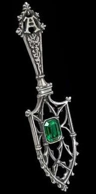 Sucre Vert Absinthe Spoon - Alchemy Gothic  Green Sugar: a miniature, wearable token of a secret life; an Alchemy absinthe spoon, signifying an existence dedicated to hedonistic pleasure and sublime aestheticism; set with large, limpid Emerald green Swarovski crysta