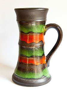 West German Vase, Very Retro Mod  - Jasba Red & Green $56 SOLD
