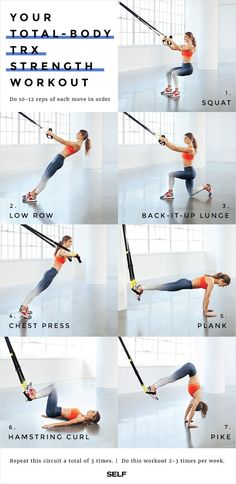 Work Your Entire Body With This Supercharged TRX Workout Work Your Entire Body With This Supercharged TRX Workout Do this routine of powerhouse basics to perfect your TRX technique while you zing every muscle.<br> Hook it up. Pilates Training, Training Fitness, Sport Fitness, Trx Fitness, Training Quotes, Fitness Wear, Muscle Fitness, Fitness Nutrition, Fitness Goals