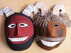 Farsangi készülődés: busóálarcok | Anyuci.hu Carnival Activities, Activities For Kids, Crafts For Kids, Carnival Masks, Costumes, Halloween, Christmas, Kindergarten, Preschool