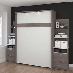 Cielo Full Wall Bed in Gray with two Side Storage Towers