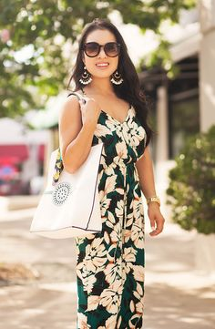 cute & little blog | petite fashion | watercolor floral surplice jumpsuit, chandelier statement earrings, white tote | spring summer outfit