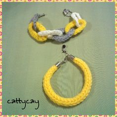 Crochet jewelry set. Yellow, gray and white chains looped together with antique look rose toggle clasp. I cord yellow tube bracelet with end caps and lobster clasp and dragonfly charm dangle.