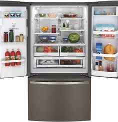 This luxury GE French-Door Refrigerator in Slate offers unique chambers to optimize the freshness of your food. That means fewer grocery trips, and more time with family.