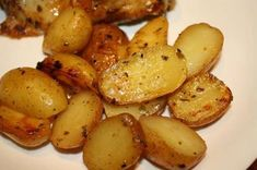 Greek Style Oven Roasted Lemon Butter Parmesan Potatoes   3 lbs potatoes 1 cup chicken broth 2 tablespoons fresh lemon juice 1/4 cup butter, melted (no substitutes) 1 teaspoon oregano (or to taste) 1 tablespoon fresh minced garlic (optional or to taste) salt and pepper 1/2-3/4 cup grated parmesan cheese (or to taste) chopped fresh parsley Directions:  1 Set oven to 375 degrees. 2 Butter a shallow baking dish large enough to hold the potatoes. 3 Peel and cut the potatoes into large wedges and…