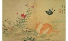 A Cat and a Butterfly | 18th century, Korean | Kim Hong-do