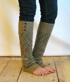 LouLou Gold Openwork Knit Leg Warmers with by GraceandLaceCo