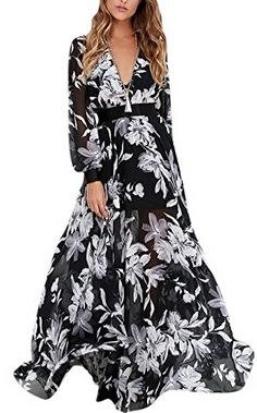 Allbebe High Waist VNeck Long Sleeved Chiffon Large Swing Maxi Dress L Black ** You can get more details by clicking on the image.
