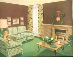 """I just love the little """"groupings"""" of sofas, chairs, and coffee table, perfect for conversations or relaxing with a magazine! 1950s Living Room, Retro Living Rooms, Mid Century Modern Decor, Mid Century Modern Furniture, Ranch Remodel, Googie, Vintage Decor, Mid-century Modern, Interior Design"""