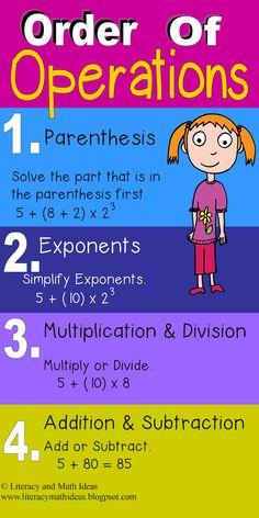 Order of operations for solving math problems~ math anchor chart and teaching ideas Math Charts, Math Anchor Charts, Math Resources, Math Activities, Math Games, Math Tutorials, Math Help, Learn Math, Order Of Operations