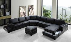 sofá largo de piel negra