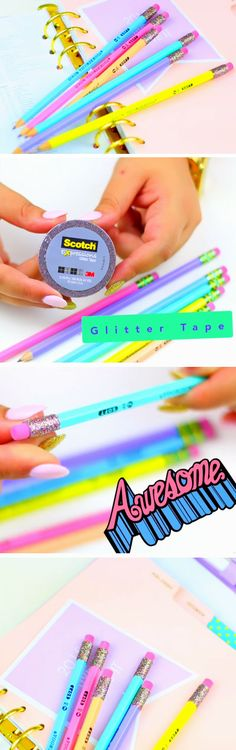 Glitter Pencils | DIY Tumblr Inspired School Supplies for Teens you need to try!