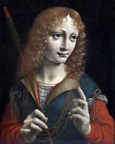 Джованни Амброджо де Предис (ученик Леонардо да Винчи). Святой Себастьян. Прическа юноши.