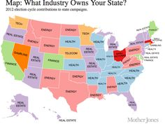 map of which industries dominate each state's politics