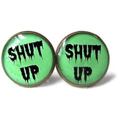 Green Drippy Shut Up Stud Earrings Pastel Goth Soft Grunge Jewelry ($14) ❤ liked on Polyvore featuring jewelry, earrings, grunge jewelry, gothic earrings, green jewelry, pastel jewelry and gothic jewellery
