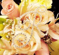 Crystal Rhinestone Initial Bouquet Letter