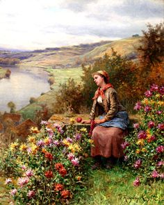 Daydreaming by Daniel Ridgway Knight 1800s