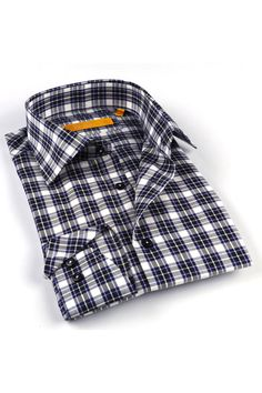BRIO Men's Milano Classic Shirt In Navy & Gray Plaid - Beyond the Rack