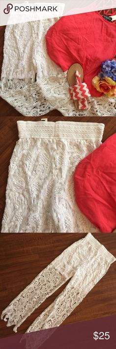 Gorgeous White Laced Dress Pants👗 A MUST HAVE💋.. Everyone is wearing these cute dress pants that have shorts up top but lace legs! Such a conversation piece at any gathering! NWT Pants