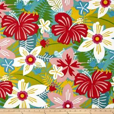Alexander Henry Tiki Dreams Tiki Garden Burlap from @fabricdotcom  Designed by De Leon Design Group for Alexander Henry, this cotton print fabric is perfect for quilting, apparel and home decor accents. Colors include shades of blue, pink, green, red, white, blush and citrus.