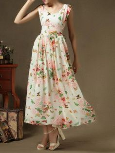 Shop Butterfly Print Low-Cut Zip Back Waist Tie Maxi Dress from choies.com .Free shipping Worldwide.$33.99
