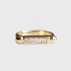 Mia Chicco; Bronzina 9 Carat Gold Channel Set Carre Cut Diamonds Engagement or Wedding Ring