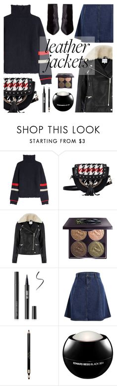 """""""Cool-Girl Style: Leather Jackets"""" by dora04 ❤ liked on Polyvore featuring Zadig & Voltaire, Warehouse, Chantecaille, Clarins, Edward Bess and Betsey Johnson"""