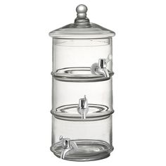 Serve iced tea or freshly-squeezed lemonade at your next soiree with this lovely beverage dispenser, crafted of glass and showcasing a 3-tier design.    ...