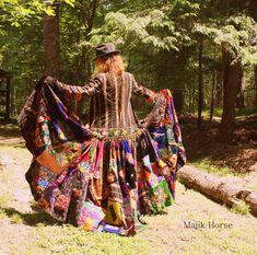 WAITING LIST Made to Order Vintage Hippie Gypsy FairyTale Dress Coat Embroidered Patchwork Velvet Majik Horse