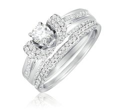 $409.99 - 1 Carat Diamond 14K White Gold Bridal Ring Set