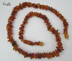 "Baltic Amber Necklace 18"" Long Natural Nuggets -- ""The Firefly"""