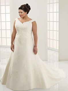 Fitted V-Neck Lace Organza Satin Plus Size Chapel Train Wedding Apparels - Plus Size Wedding Dresses - Wedding Dresses Off Shoulder Wedding Dress, Lace Wedding Dress, Princess Wedding Dresses, Colored Wedding Dresses, Cheap Wedding Dress, Wedding Dress Styles, Bridal Dresses, Prom Dresses, Plus Size Wedding Gowns