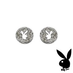 Playboy Earrings Bunny  Crystals Round Studs Platinum Plated #Playboy #playmate #cybergirl