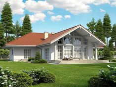 Projekt domu Lemko Termo 187,63 m2 - koszt budowy - EXTRADOM Village House Design, Village Houses, House Plans Mansion, House Plans One Story, Steel House, Home Technology, Small House Design, Modern House Plans, Cottage Homes