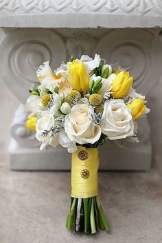 yellow tulip, white roses, yellow billy balls dusty miller wedding flower bouquet, bridal bouquet